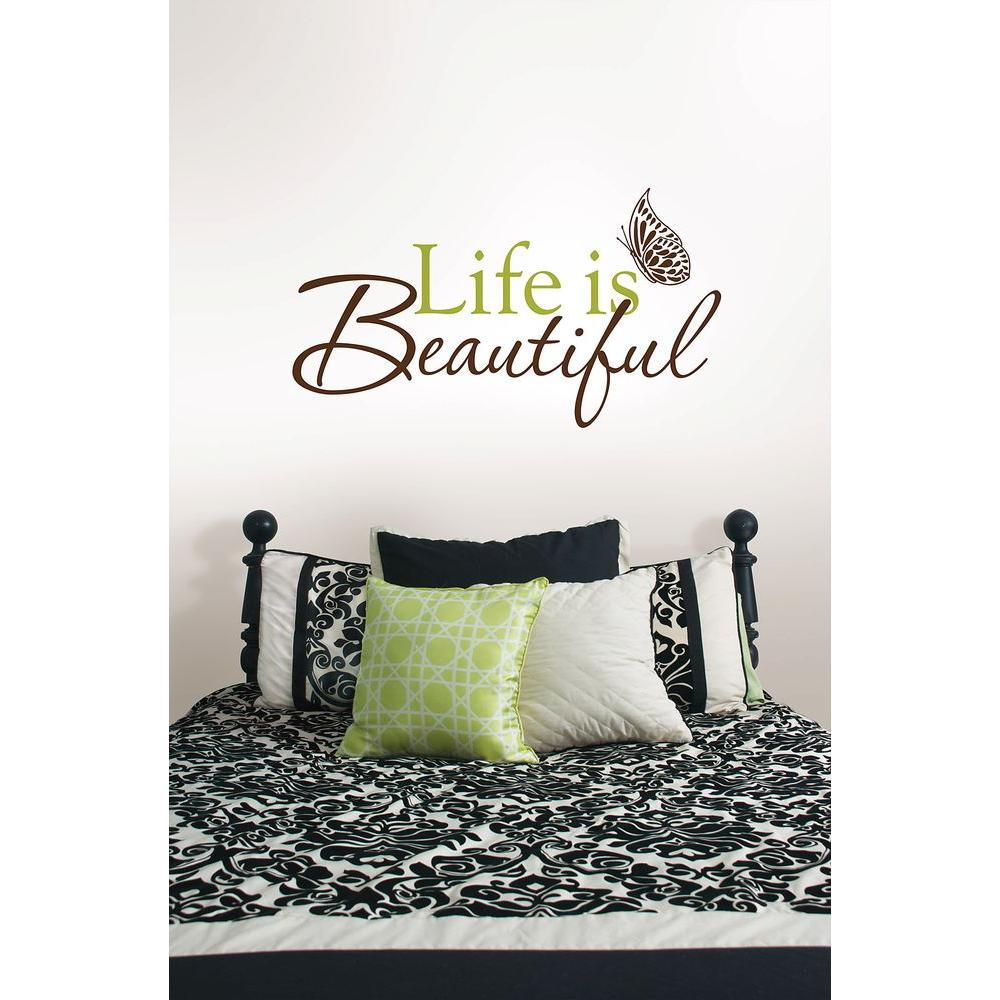 WallPOPs 3.5 in. x 2 in. Life Is Beautiful Quote Wall Decal