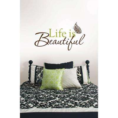 3.5 in. x 2 in. Life Is Beautiful Quote Wall Decal