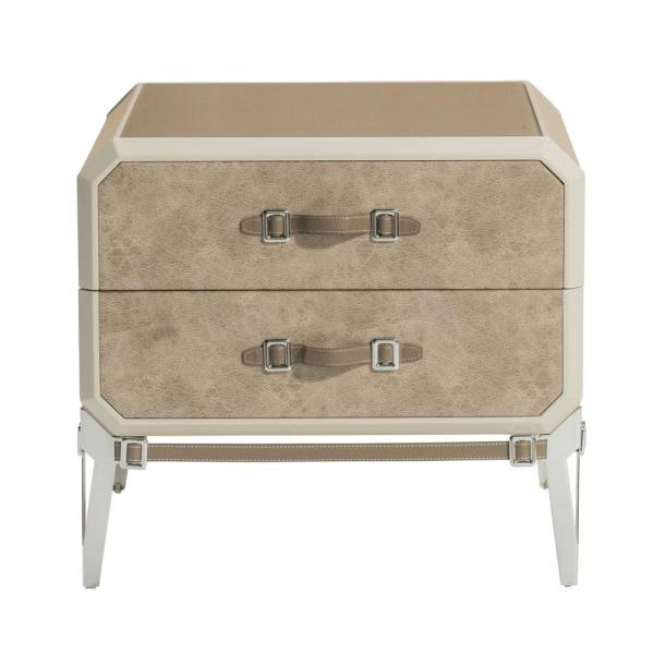 Amelia 2-Drawer 18 in. x 28 in. x 25 in. Beige PU Wood Upholstered Nightstand