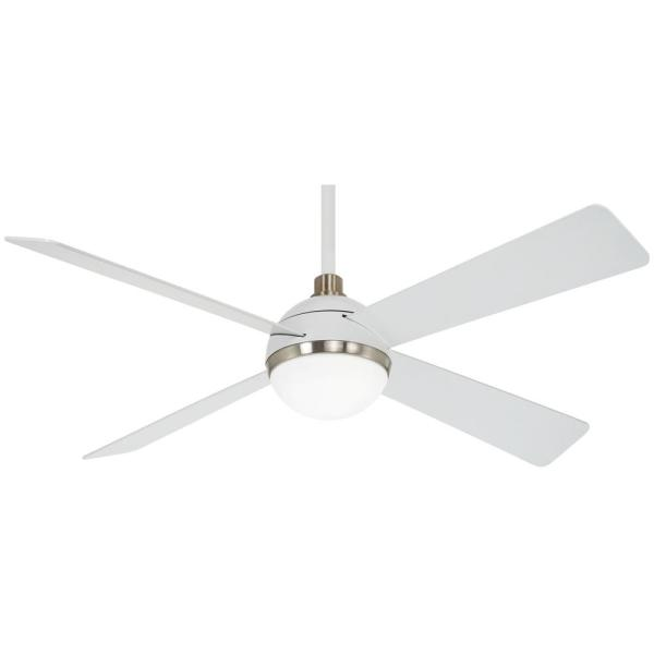 Orb 54 in. Integrated LED Indoor Flat White Ceiling Fan with Light with Remote Control