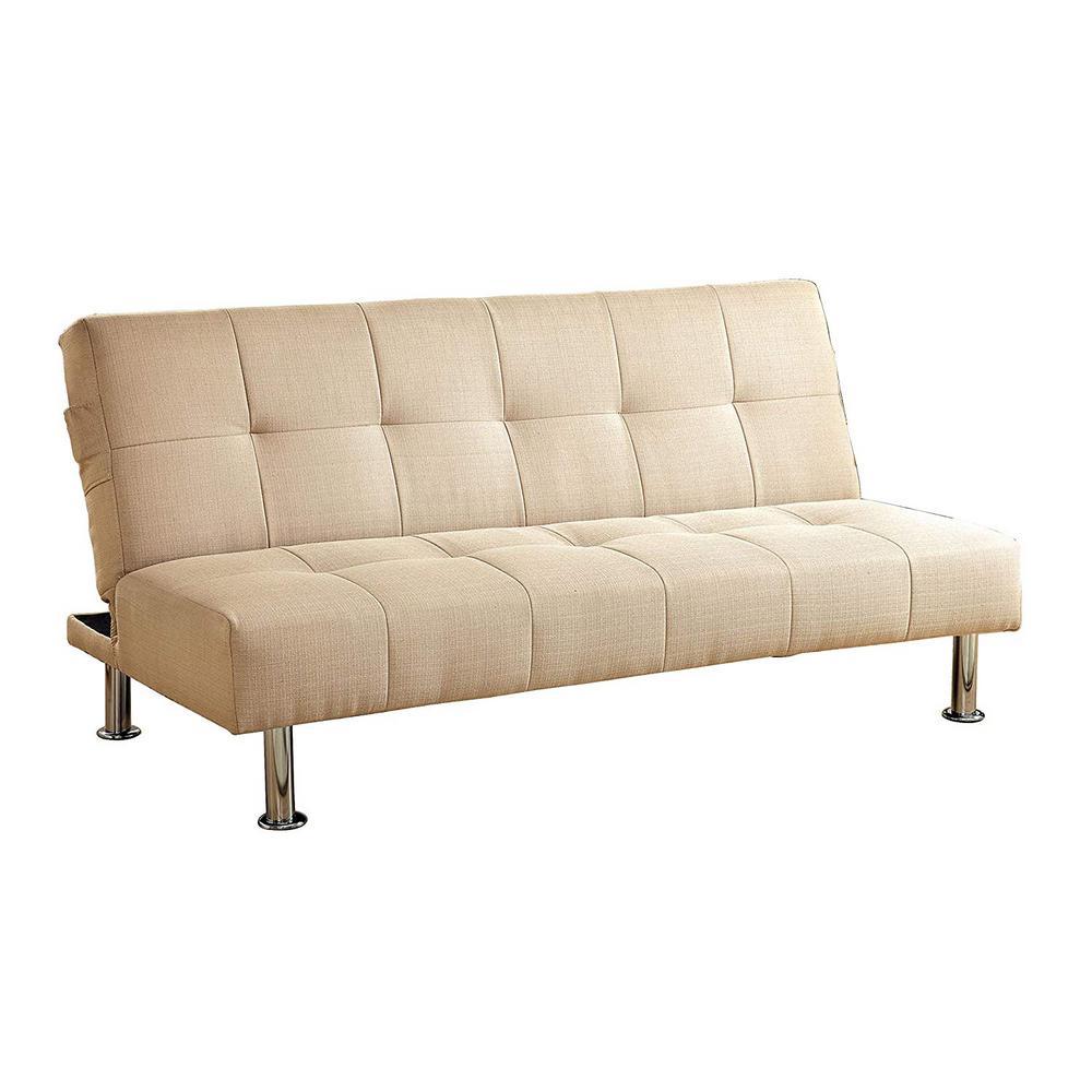 Dewey Contemporary Style Ivory Futon Sofa