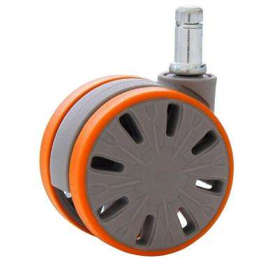 2-9/16 in. Office Chair Caster Wheels Stem 11 mm x 22 mm Rubber PU for Hardwood Floors (Set of 5)