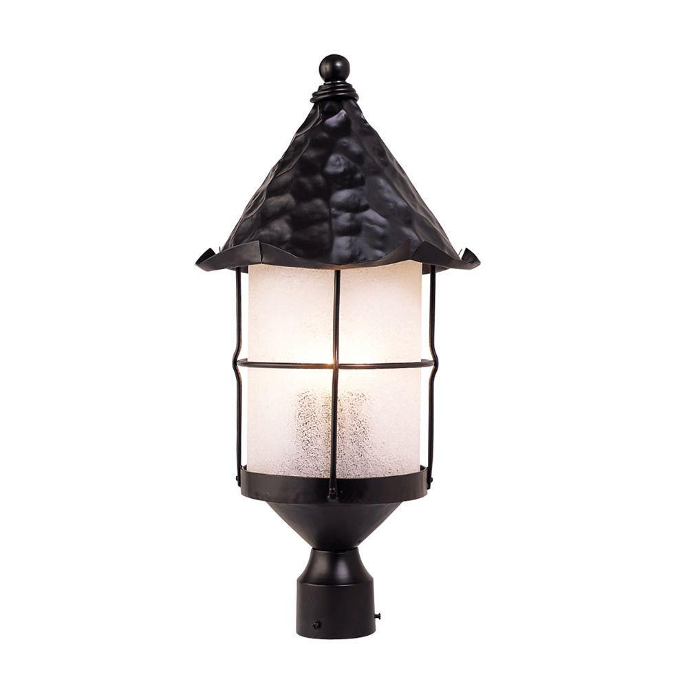 Rustica 3-Light Outdoor Matte Black Post Light