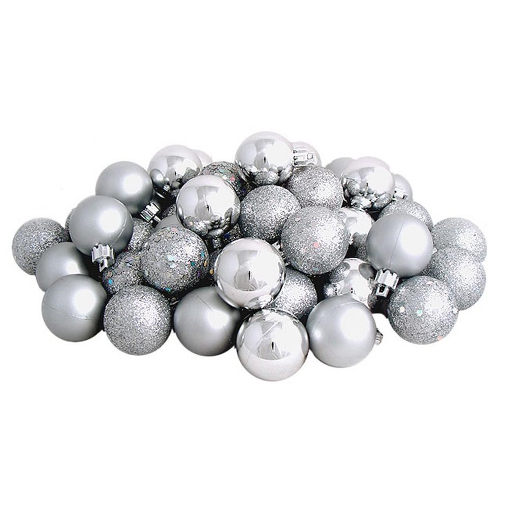 1.5 in. (40 mm) Shatterproof Silver Splendor 4-Finish Christmas Ball Ornaments
