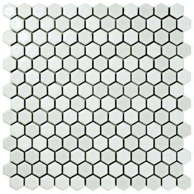Comet Hex White 11-5/8 in. x 11-7/8 in. x 9 mm Porcelain Mosaic Tile