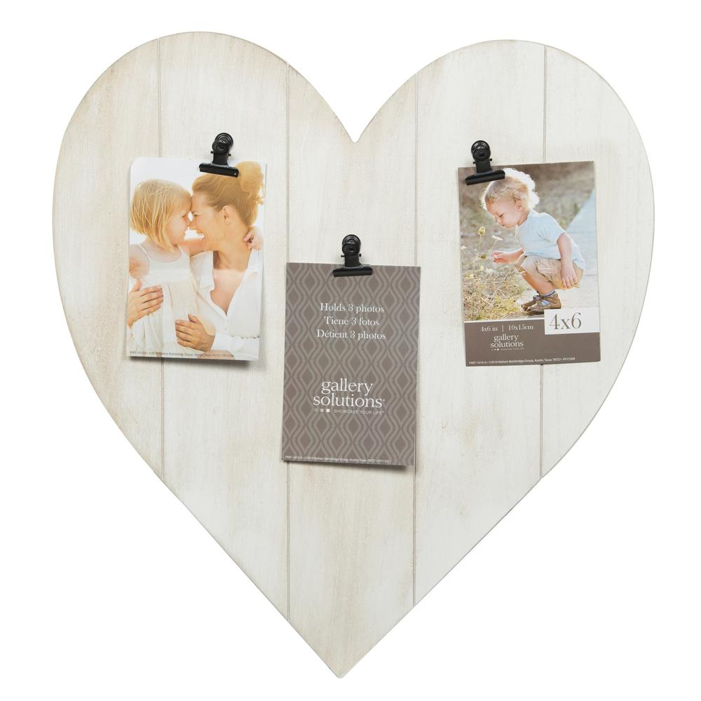 Pinnacle Heart 4 in. x 6 in. Whitewash 3-Clip Picture Frame ...