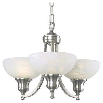 Fairlawn 3-Light Brushed Steel Chandelier with Frosted Glass Shades