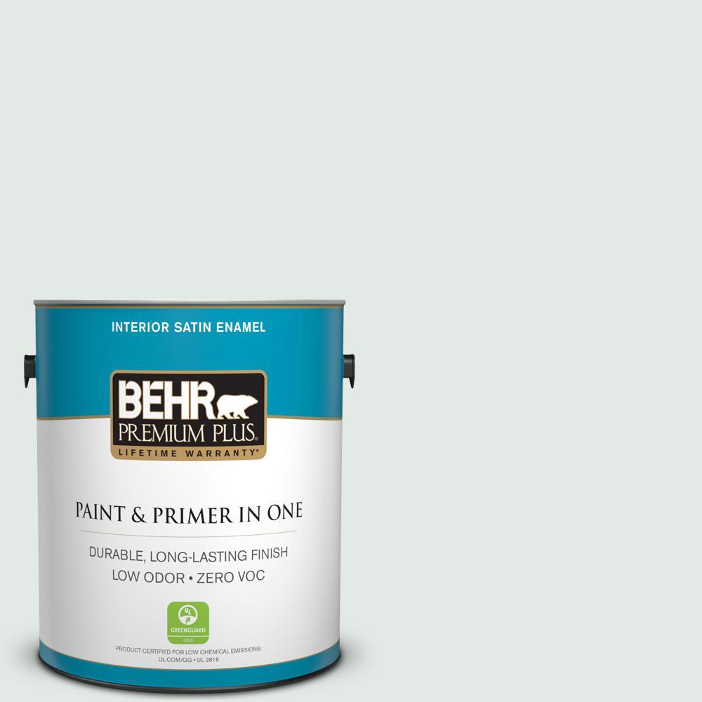BEHR Premium Plus 1-gal. #BL-W7 Wind Chill Satin Enamel Interior Paint