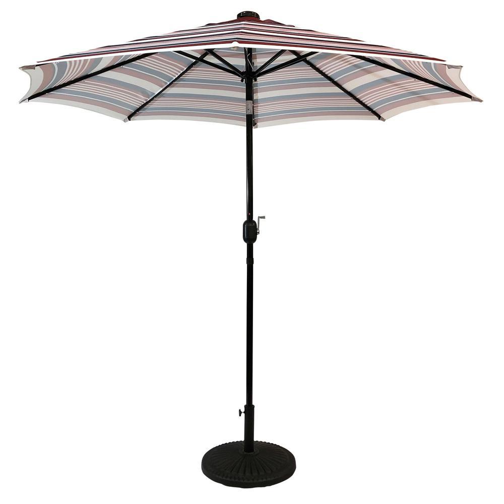 9 ft. Steel Market Solar Lighted 8-Rib Round Patio Umbrella in Scarlet Striped
