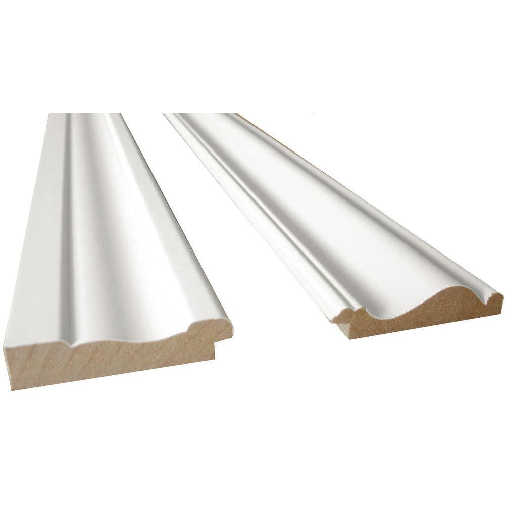 White MDF Base Moulding And Chair Rail Trim Kit (2