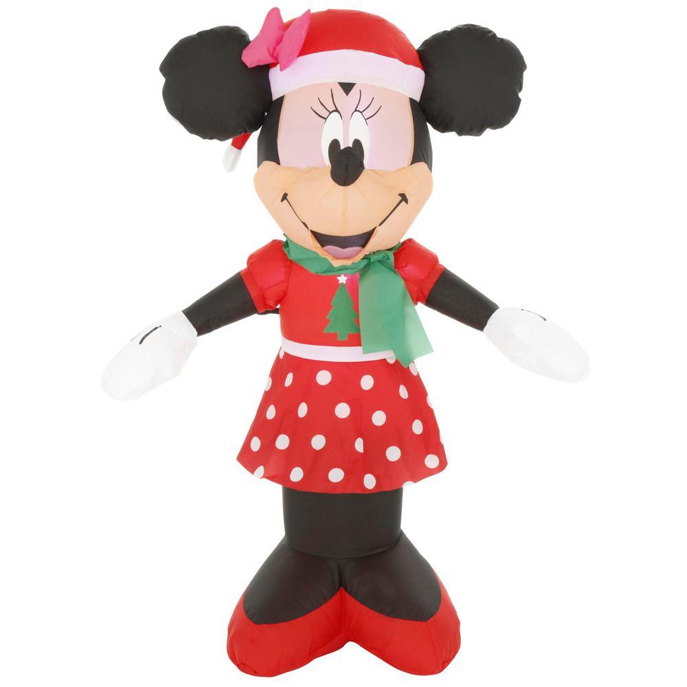 Minnie Mouse Christmas Dress.Disney 3 5 Ft Pre Lit Inflatable Airblown Minnie Mouse In Christmas Dress
