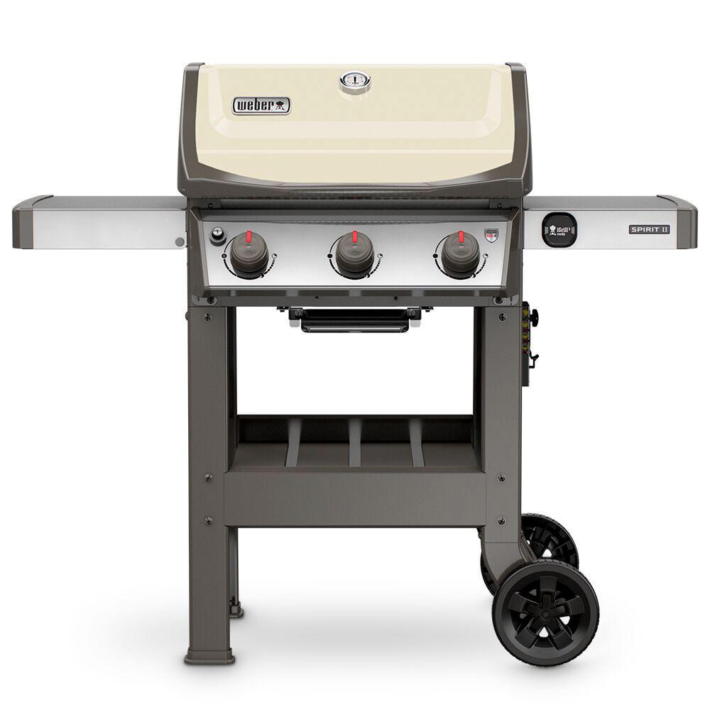 weber spirit ii e 310 3 burner propane gas grill in ivory 45060001 the home depot. Black Bedroom Furniture Sets. Home Design Ideas