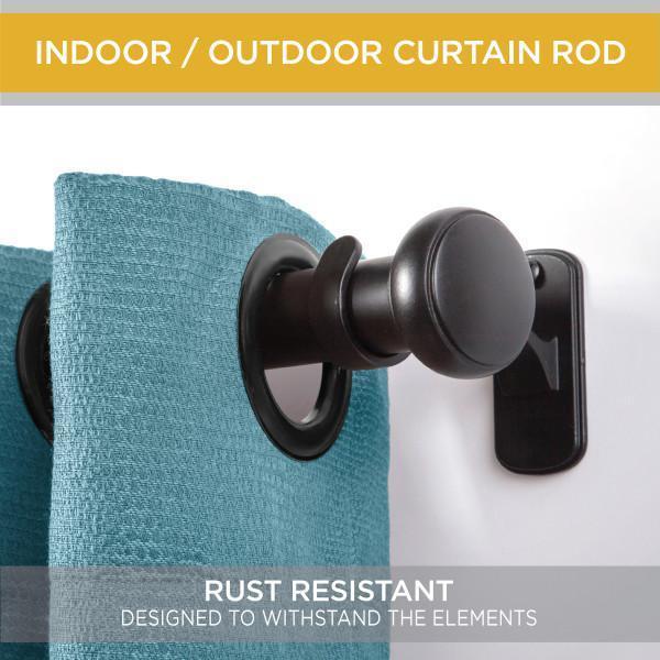 Weaver 72 in. - 144 in. Adjustable 1 in. Indoor/Outdoor Rust-Resistant Single Curtain Rod in Black