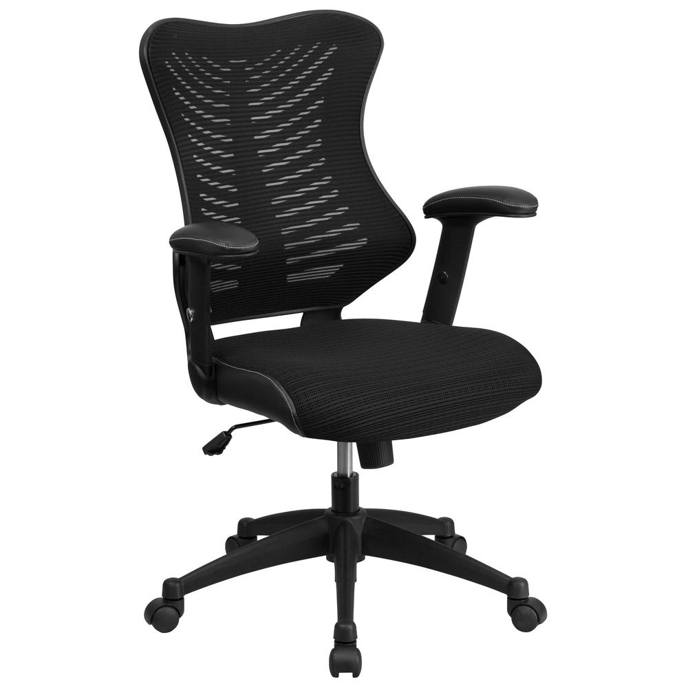 Flash Furniture High Back Black Designer Mesh Executive Swivel Office Chair With Padded Seat