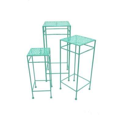 Blue Square Plant Stand (Set of 3)