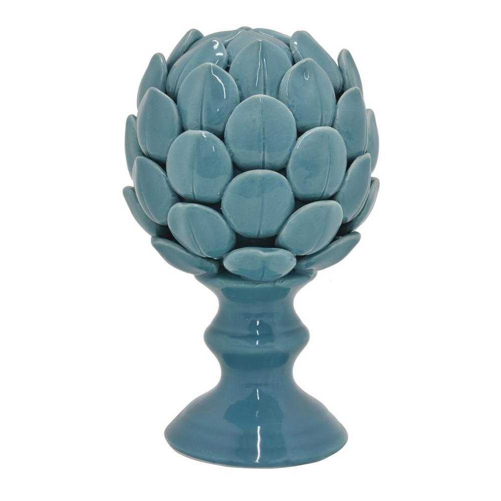 5 in. L x 5 in. W x 8 in. H Ceramic Artichoke Finial in Blue Porcelain-Ceramic