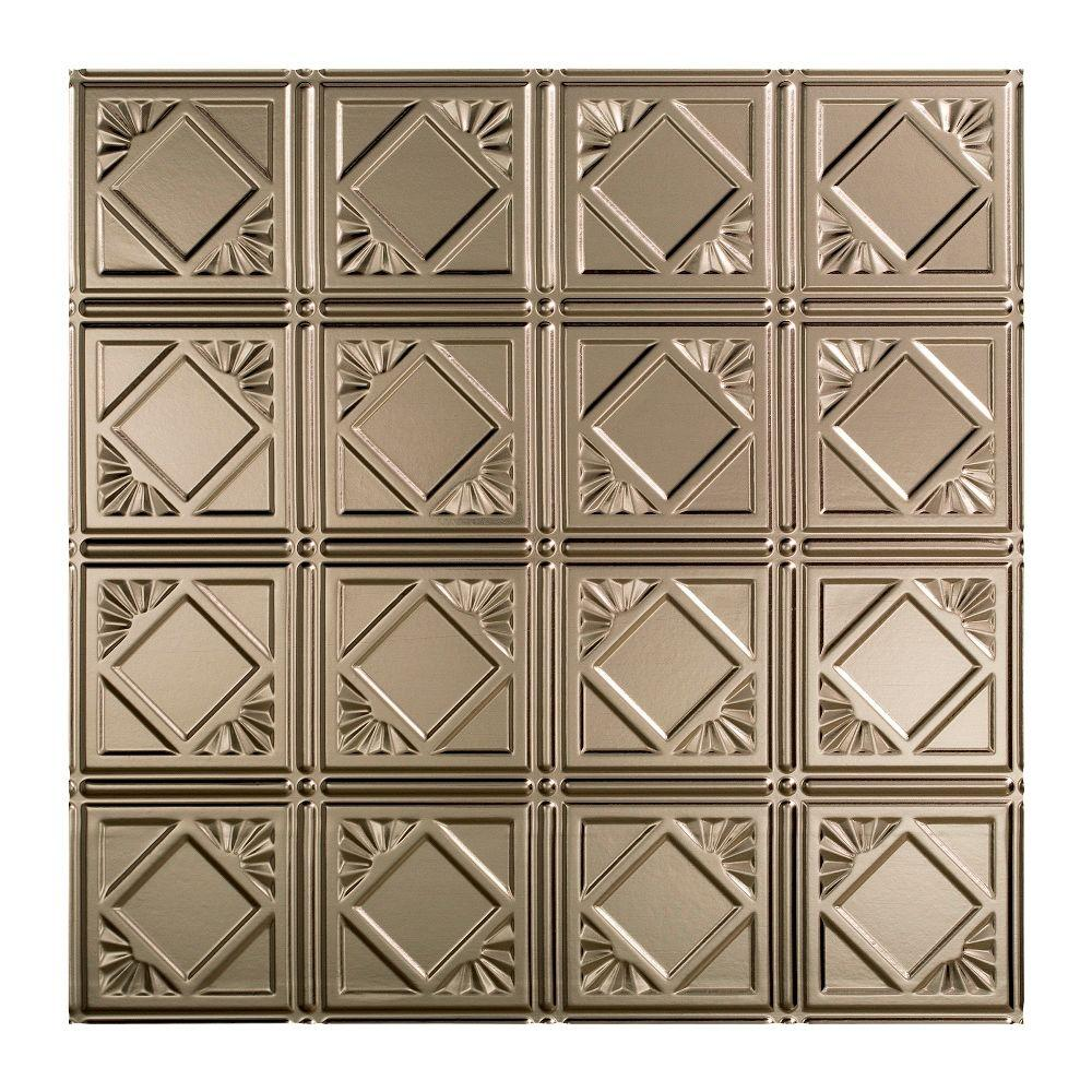 Fasade Traditional 4 - 2 ft. x 2 ft. Lay-in Ceiling Tile in Brushed Nickel