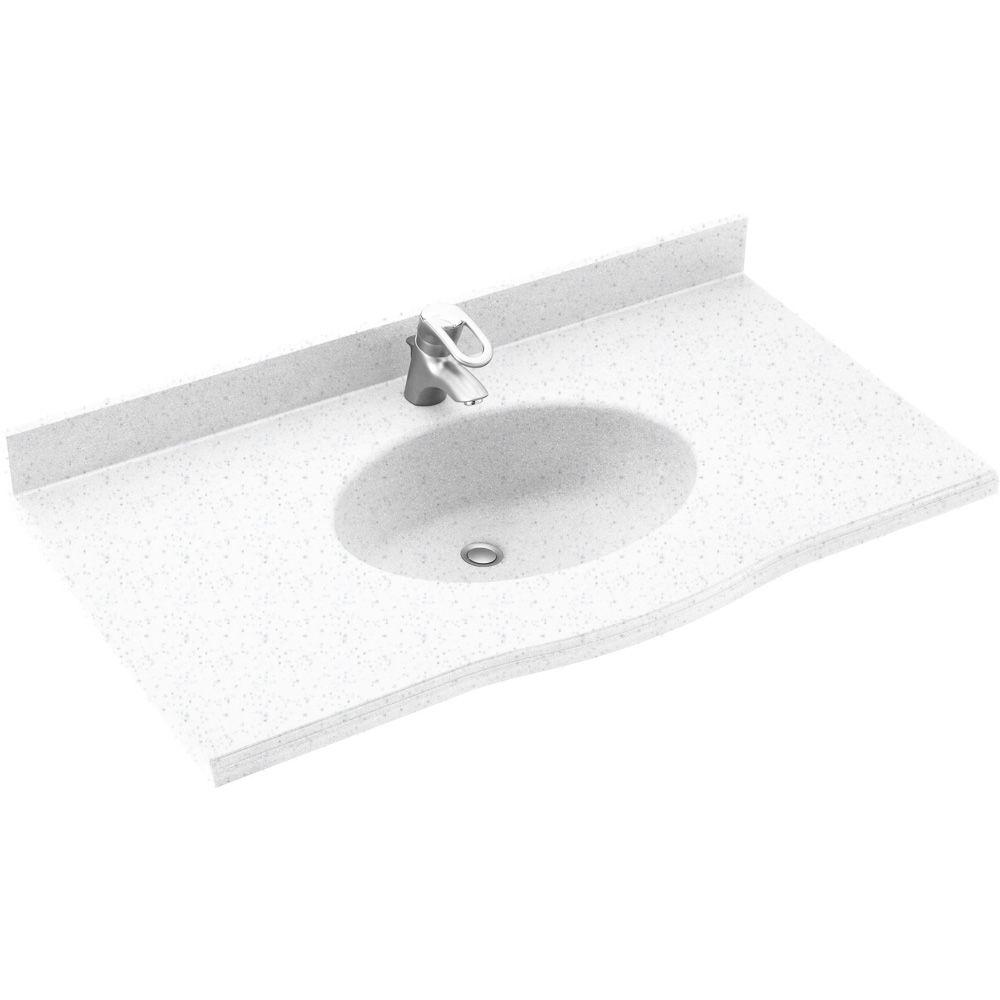 Swanstone Europa 55 in. Solid Surface Vanity Top with Basin in Arctic Granite-DISCONTINUED