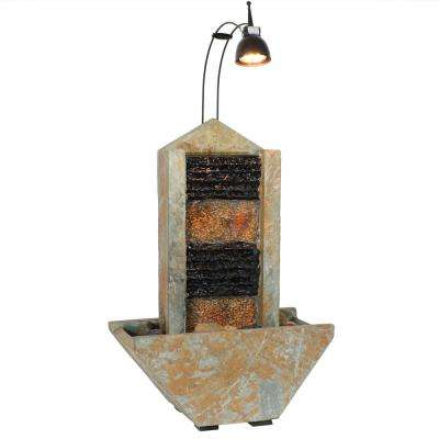16 in. Towering Tabletop Outdoor Cascade Water Fountain with Spotlight, Indoor Use, Slate