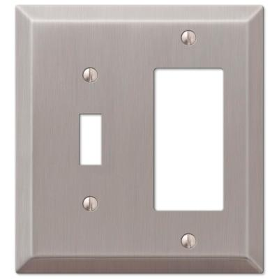 Metallic 2 Gang 1-Toggle and 1-Rocker Steel Wall Plate - Brushed Nickel