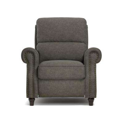 ProLounger Push Back Recliner Chair In Fog Gray Distressed Faux Leather