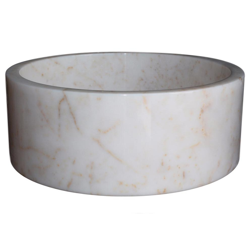 TashMart Cylindrical Natural Stone Vessel Sink in White Marble