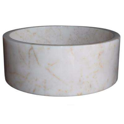 Cylindrical Natural Stone Vessel Sink in White Marble