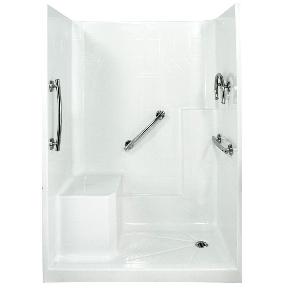 Ella Freedom 33 in. x 60 in. x 77 in. Low Threshold Shower Kit in White with Left Side Seat Position