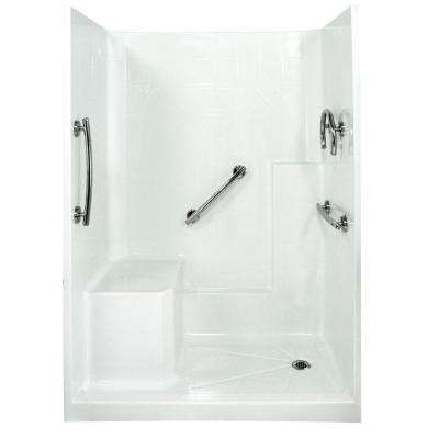 Freedom 33 in. x 60 in. x 77 in. Low Threshold Shower Kit in White with Left Side Seat Position