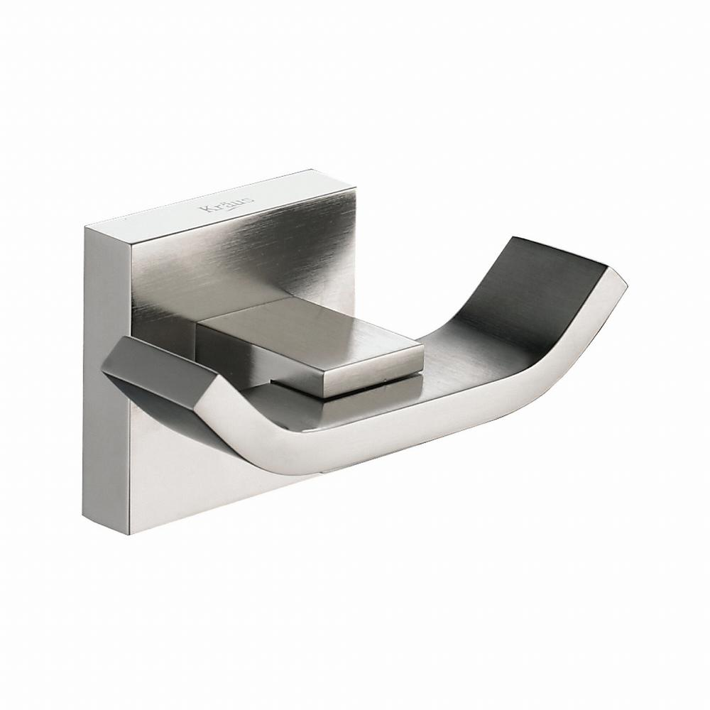 Aura Bathroom Double Robe Hook in Brushed Nickel