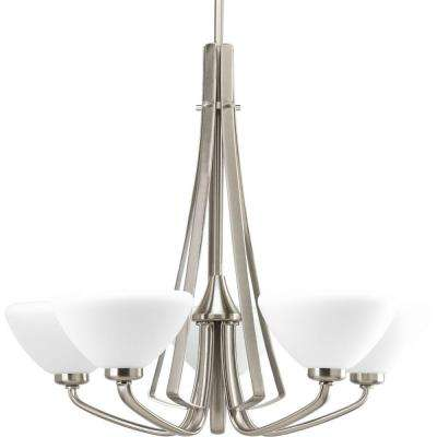 Rave Collection 5-Light Brushed Nickel Chandelier with Opal Etched Glass Shade