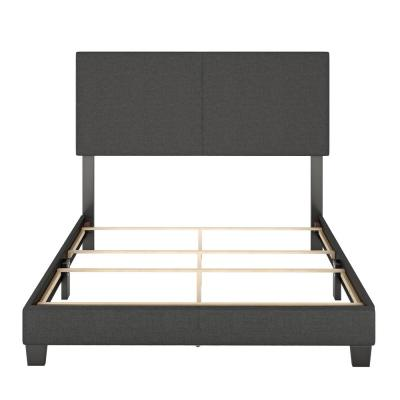 Barrett King Charcoal Linen Upholstered Platform Bed Frame