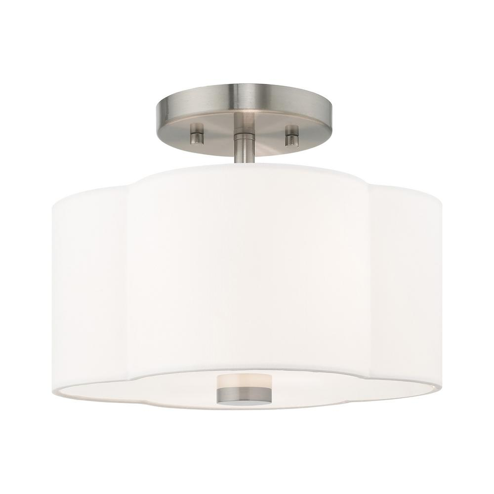 Livex Lighting Chelsea 2-Light Brushed Nickel Semi-Flushmount Light