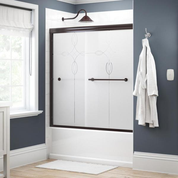 Crestfield 60 in. x 58-1/8 in. Semi-Frameless Traditional Sliding Bathtub Door in Bronze with Tranquility Glass