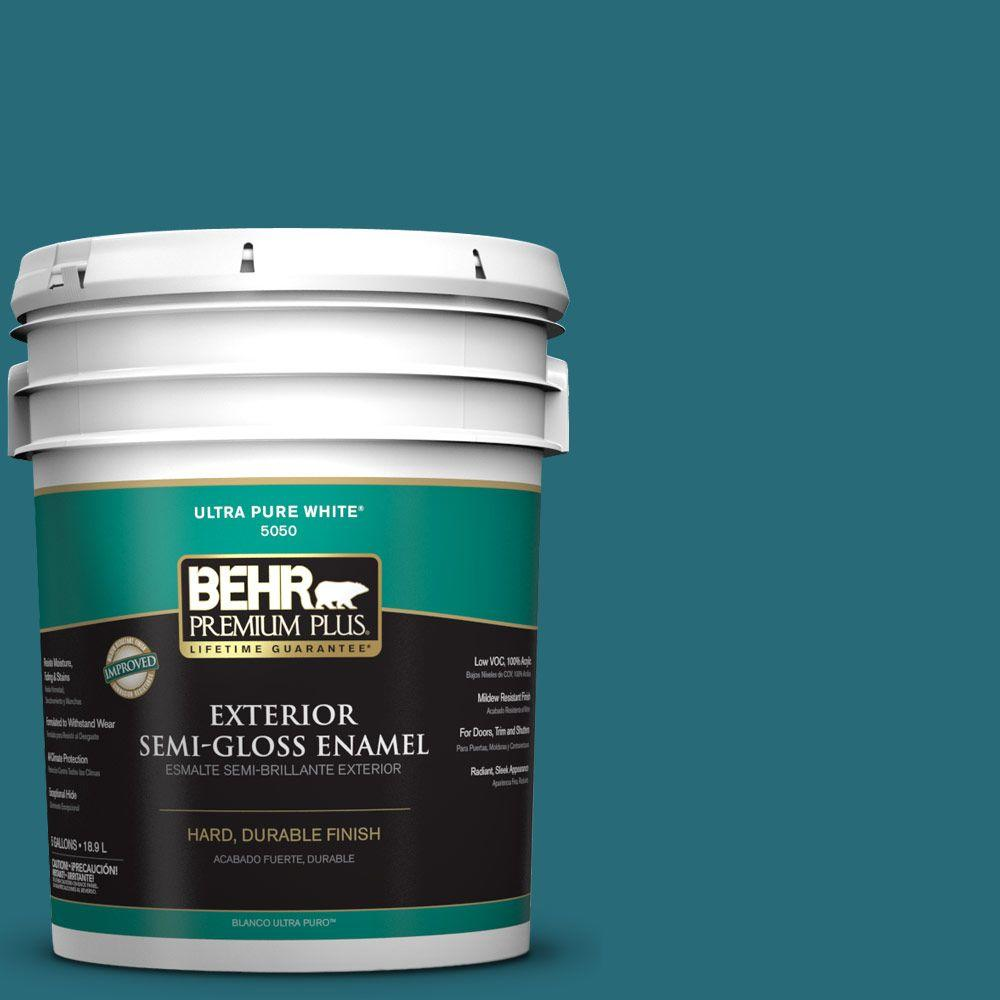 BEHR Premium Plus 5-gal. #M470-7 Blue Stream Semi-Gloss Enamel Exterior Paint