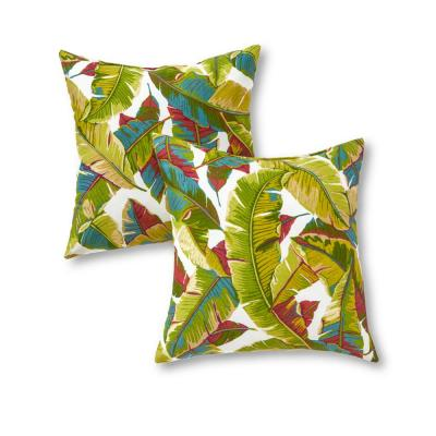 Palm Leaves Multi-Square Outdoor Throw Pillow (2-Pack)