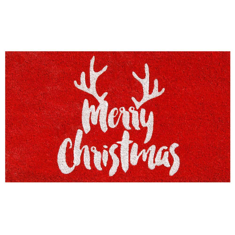 Christmas Antlers 17 in. x 29 in. Coir Door Mat