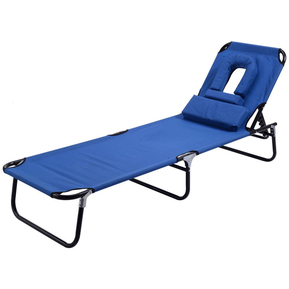 Marvelous Costway Pool Yard Blue Metal Steel Frame Patio Folding Beach Chair Outdoor Chaise Lounge Chair Bed Camping Recliner Gamerscity Chair Design For Home Gamerscityorg