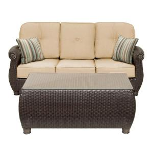 La-Z Boy Breckenridge 2-Piece Wicker Outdoor Sofa and Coffee Table Set with Sunbrella Spectrum Sand Cushion by La-Z Boy