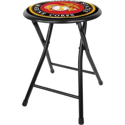 United States Marine Corps 18 in. Black Cushioned Folding Bar Stool