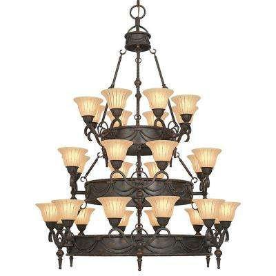 Isabella Collection 28-Light Earthen Bronze Hanging Chandelier with Spanish Scalloped Glass Shade