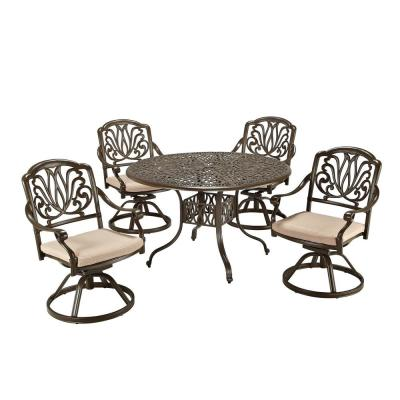Capri Taupe Tan Brown 48 in. 5-Piece Cast Aluminum Round Outdoor Dining Set with Natural Tan Cushions