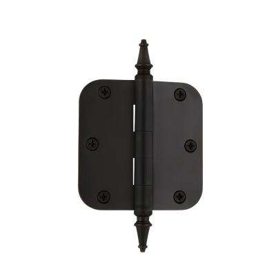 3.5 in. Oil-Rubbed Bronze Steeple Tip Residential Hinge with 5/8 in. Radius Corners