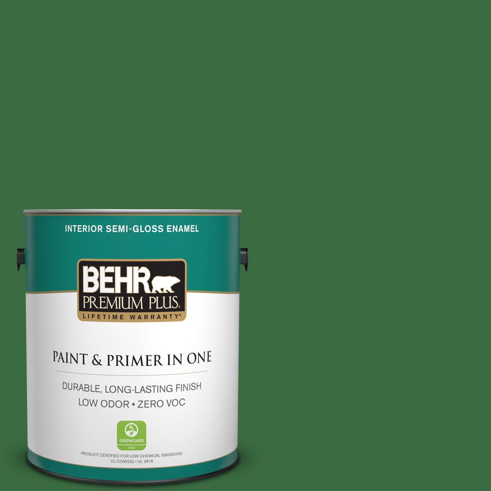 BEHR Premium Plus 1-gal. #S-H-440 Pine Scent Zero VOC Semi-Gloss Enamel Interior Paint