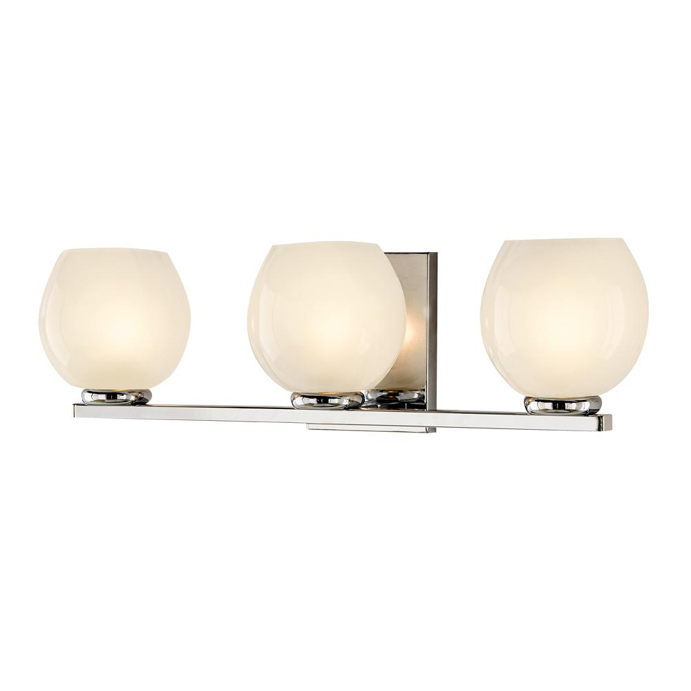 Rennes 3-Light Polished Chrome Sconce with Frosted Glass Shades