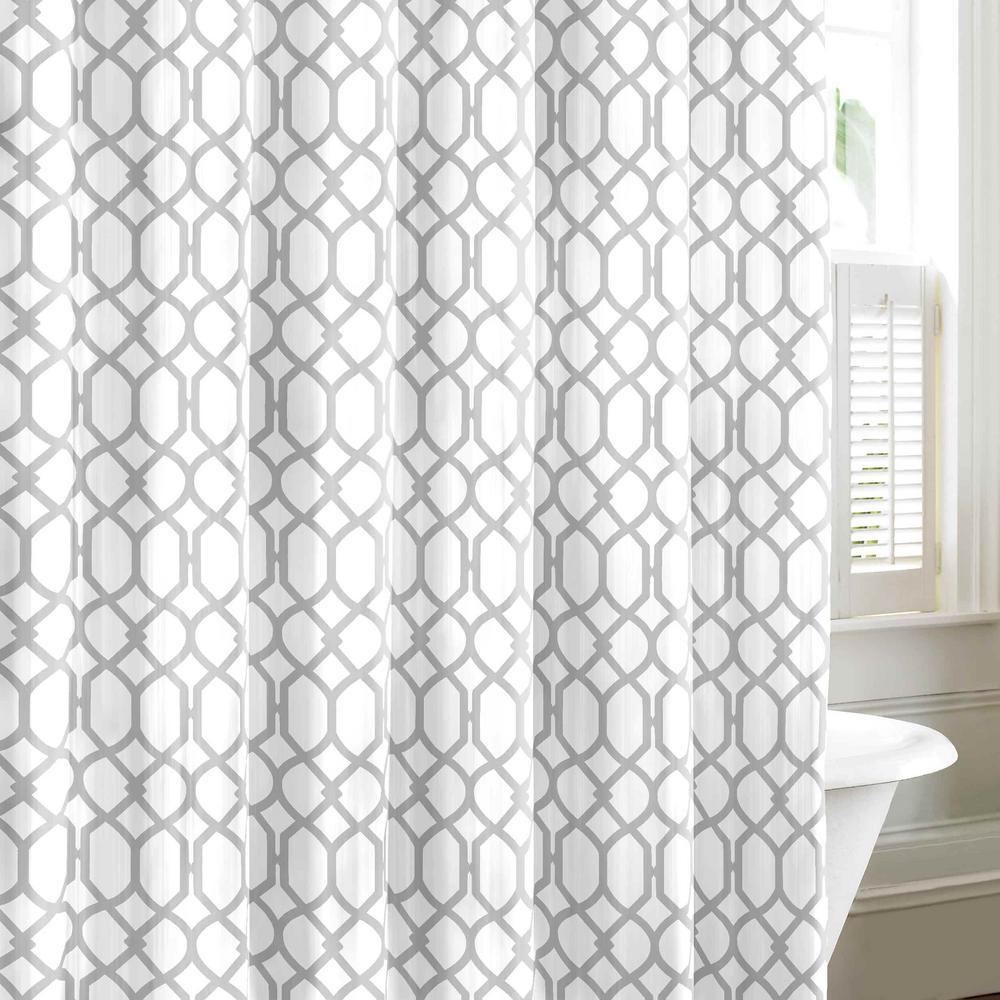 Shoretown Trellis Grey Cotton 72in. X 72in. Shower Curtain