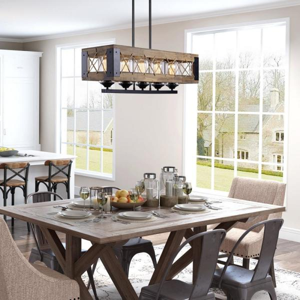 Lnc Modern Farmhouse Chandelier Black Rectangular Dining Room Chandelier 5 Light Kitchen Island Natural Wood Pendant Light A03145 The Home Depot