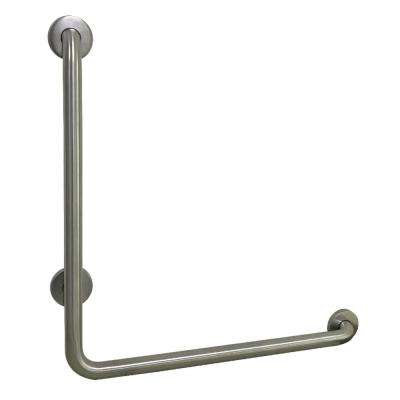 L-Shaped 24 in. x 1-1/4 in. Grab Bar in Brushed Nickel