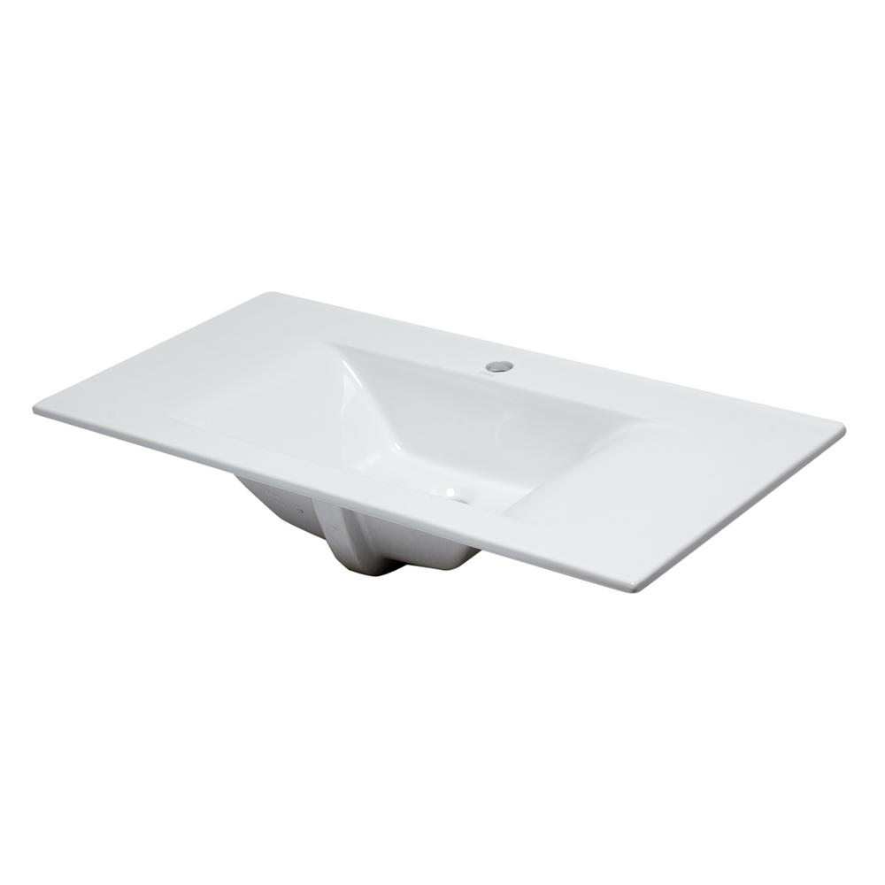 7.6 in. Drop-In Sink Basin in White