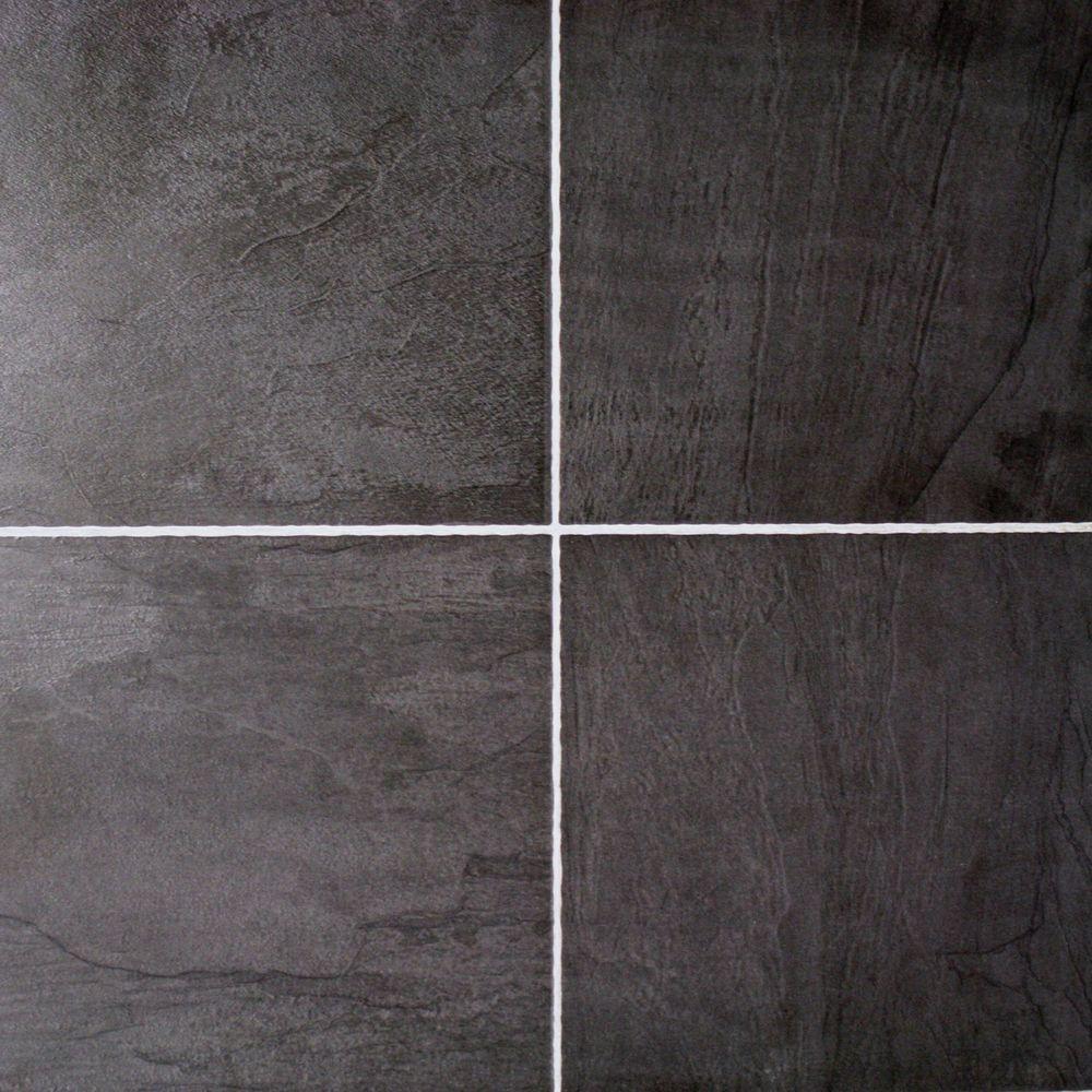 Hampton Bay Black Slate 10 mm Thick x 11-3/10 in. Wide x 46-3/10 in. Length Click Lock Laminate Flooring